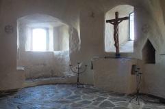 Olavinlinnassa on pieni kappeli, jota käytetään muun muassa kastetilaisuuksiin.