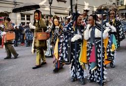 Karnevaalihumussa Rottweilin keskiaikaisilla kaduilla